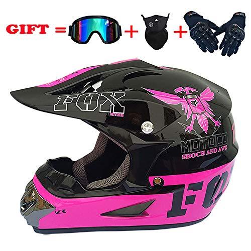 WWtoukui Fashion Eagle Motocross Helmet, Men and Women Four Seasons Mountain Bike Motorcycle Rider Cross Country Full Face Helmet, DOT Certified Helmet (4 Pieces) Pink Plus Black,L:58~59cm