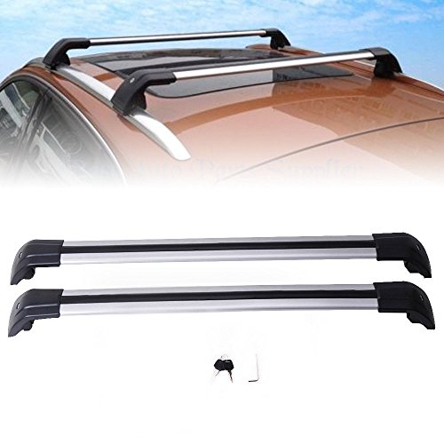 MotorFansClub Lockable Roof Top Rail Roof Rack Cross Bars Luggage Carrier For Audi Q7 2006-2016
