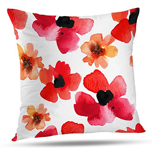 Batmerry Spring Pillows Decorative Throw Pillow Covers 18x18 Inch, Watercolor Abstract Poppy Red Background Double Sided Square Pillow Cases Pillowcase Sofa Cushion