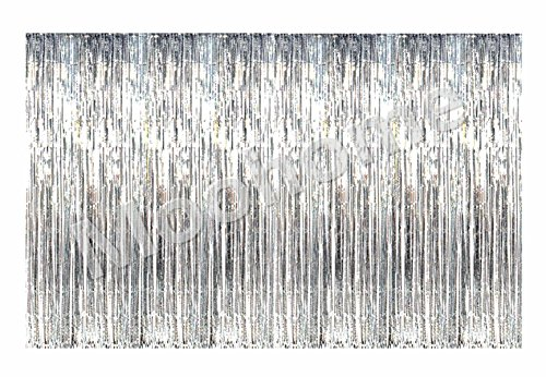 Moohome Big 12ft x 8ft Tinsel Metallic Silver Foil Fringe Curtains Backdrop Door Window Curtain Party Photography Decoration (12' x 8', Silver) Metallic Silver Foil