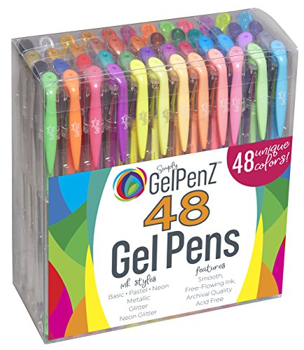 GelPenz 48-Count Gel Pens in Clear Plastic Case for Adult Coloring Books, 48 Unique Colors