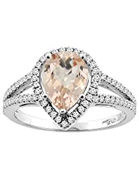 14K Gold Natural Morganite Ring Pear Shape 9x7 mm Diamond Accents, sizes 5 - 10