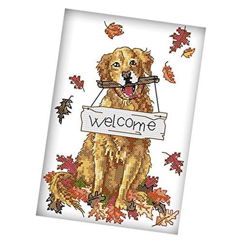 (Prettyia DIY Stamped Cross Stitch Kits with Printed Pattern- Lovely Dog Pattern DIY Needlepoint Embroidery Kits for Adults Beginners - 11CT, 22 x 33cm)
