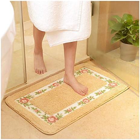 GHHQQZ 2個 バスルームのカーペット ノンスリップ 吸水 吸音 超極細繊維 キッチン バスルームラグ、 4色、 厚さ1.2 cm、 3サイズ (Color : Yellow, Size : 45x75cm)