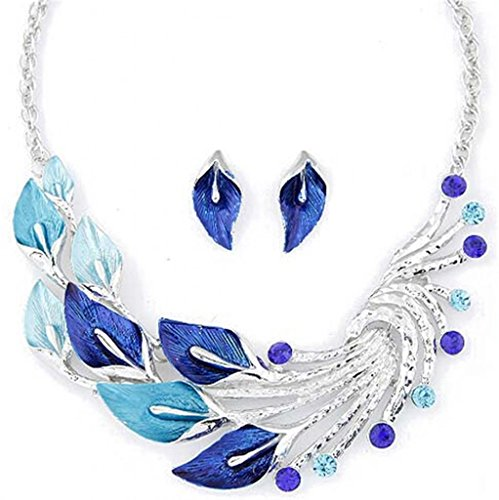 JSDY Womens Girls Bohemia Drawing Peacock Leaves Pendants Necklaces Earrings Set Blue
