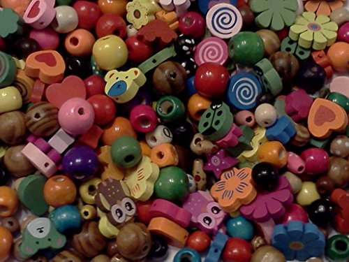(Half-Pound Wood Beads, 6-25mm, Assorted Colors and Shapes, Owls, Bears, Hearts, Flowers, Cars etc.)