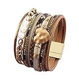 AZORA Leather Cuff Bracelet Multi Strands Beige