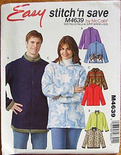 (Stitch 'n Save McCall's 4639 Sewing Pattern ~ Easy Men's, Misses', Unisex Jacket with Hood and Collar Variations, Sizes, Small-Medium-Large)