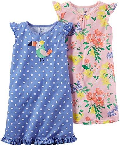 Carter's Girls' 2 Pk Gown Poly 373g023, Print, 4-5 -