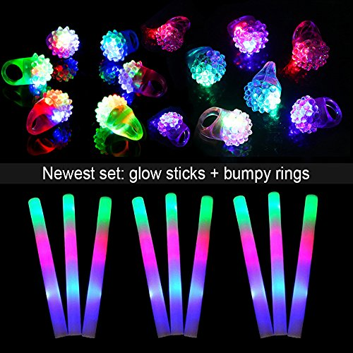 Lifbeier Flashing LED Light up Bumpy Rings 12 PCS and Glow Foam Sticks 12PCS - Glow in The Dark Party Supplies Kids Toys for Parties, Wedding, Birthday, Christmas