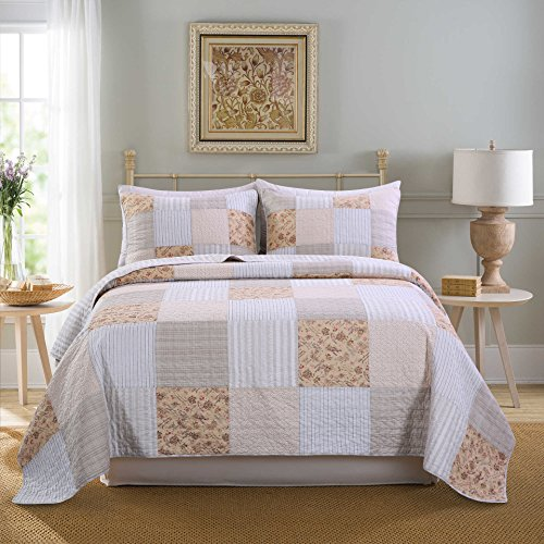 - SLPR Country Lane 3-Piece Real Patchwork Cotton Quilt Set (Queen) | with 2 Shams Pre-Washed Reversible Machine Washable Lightweight Bedspread Coverlet