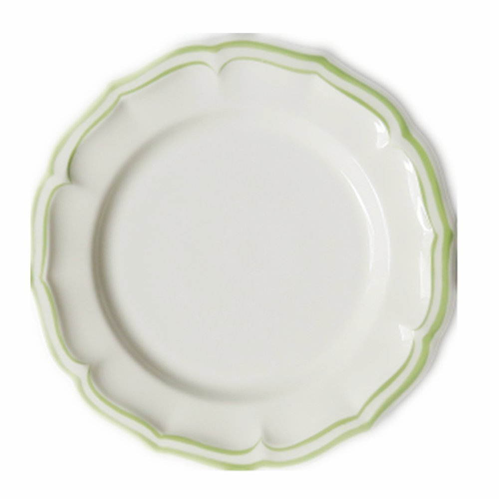 Huayoung Simple Style Floral Border Ceramic Bread Dessert Plate (8-inch, Green)