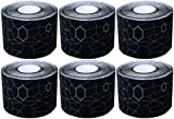 TheraBand Kinesiology Tape, Waterproof Physio Tape for Pain Relief, Muscle & Joint Support, Standard Roll with XactStretch Application Indicators, 2'' X 16.4'' Roll, 6 Pack, Black/ Black