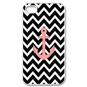 Nuktoe Salmon Anchor Black Chevron Pattern Art Print Case For iPhone 4/4s With Unique Design With White