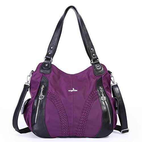 - Angelkiss Women Top Handle Satchel Handbags Shoulder Bag Messenger Tote Nylon Material Purses Bag (Purple-1)