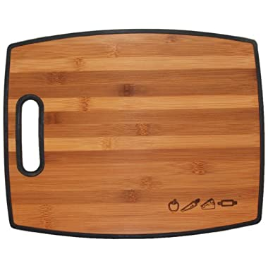 TOTALLY BAMBOO 16  Reversible Cutting Board 1 Side Is A Beautiful Bamboo Wood & The Other Side Is Polypropylene
