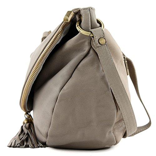 modamoda. de T40Bolso para mujer bolsa de hombro Messenger Bag (Piel de napa Bolso Mediano y Grande Beige - Beige - Beigegrau