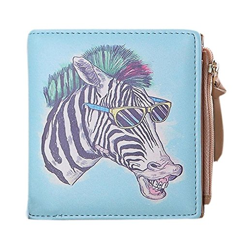 - Womens Wallet,FTXJ Laides Vintage Animals Coin Clip Purse Short Wallet Clutch Handbag (Zebra)