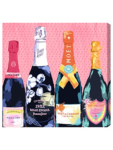Pass The Bottle! by Oliver Gal | Modern Premium Canvas Art Print. The Drinks and Spirits Wall Art Decor Collection. 36x36 inch, Pink