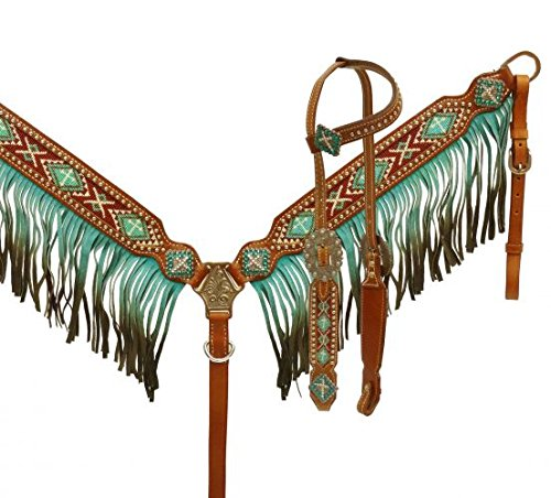 Showman Ombre Fringe Headstall and Breast Collar Set with Beaded Cross Inlay (Teal) ()