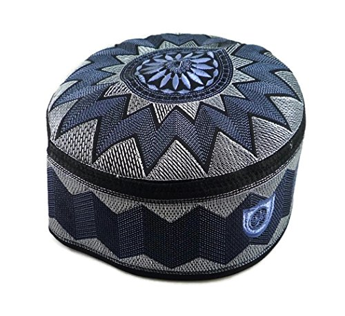(Alwee ALW006 Muslim Prayer Headware Kufi Hat Men Islam Skull Cap Ramadan Eid Gift (23.5 inch (59.5 cm.), Blue))