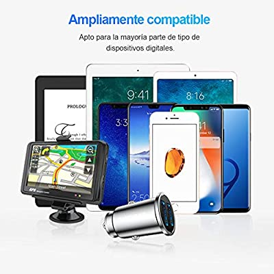 Car Charger, SmartDevil 4.8A Aluminum Alloy Dual USB Ports Car Charger Adapter Mini Fast Car Charging Compatible with iPhone 11,11 Pro,11 Pro Max,Xs Max,XR, 8 7 6,iPad,Galaxy S10 S10e and More(Silver)