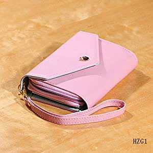 Crown Envelope Leather Case Purse Wallet for iPhone, Samsung, HTC, Huawei - Pink