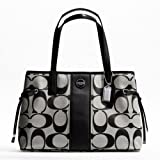 Coach Signature Stripe Carryall Purse Black and White 21949, Bags Central