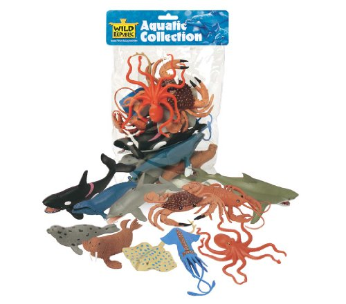 (Wild Republic Polybag Aquatic, Octopus, Shark, Dolphin, Orca, Crab, Lobster, Blue Whale, Stingray, Squid, Harp Seal, & Walrus Toys 11 Piece Set )