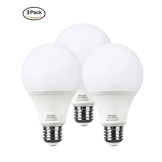 Minger 15W E27 Bombillas LED, equivalente 100W, blanco frío (5000 Kelvin),