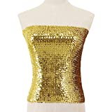 Hoohu Women's Sexy Fashion Glitter Sequin Stretchy Strapless Seamless No-Padded Wrapped Chest Bandeau Tube Top Bra