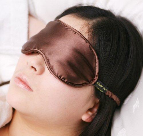 Jasmine Silk 100% Pure Silk Filled Eye Mask / Sleeping Mask Sleep Mask - CHOCOLATE