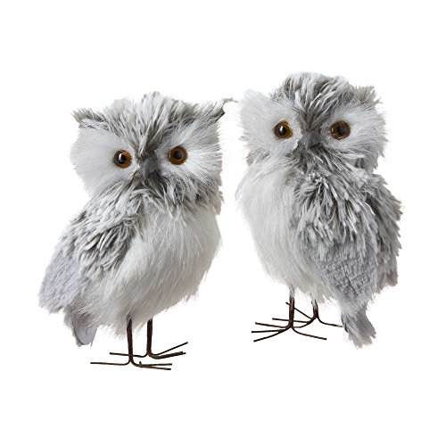 Kurt Adler 5-Inch Furry Gray Owl Set of 2 (Christmas Snowy Decorations)