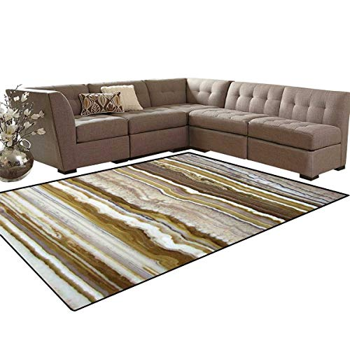 Earth Skinny Stripe - Marble Kids Carpet Play-mat Rug Onyx Marble Rock Themed Vertical Lines and Blurry Stripes in Earth Color Print Room Home Bedroom Carpet Floor Mat 6'6