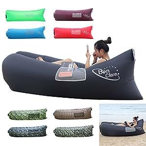 BonClare Fast Inflatable Air Lounger, Camping Bed Beach Sofa Air Bag Hangout Portable Sleeping Bag