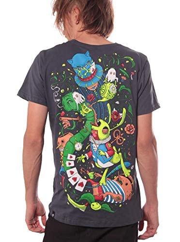 (Alice in Wonderland Psychedelic Top - Fine Print Cotton T-Shirt for Men in Color Steel -)
