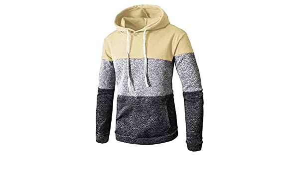 Amazon.com: 2018 Mens Patchwork Hoodies Sweatshirts Winter Casual Long Sleeve Slim Pocket Fit Pullover,Yellow,M: Clothing