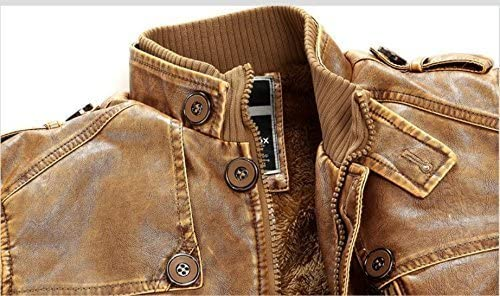Toping Fine Mens Winter Vintage Stand Collar Belt PU Leather Jackets Fashion