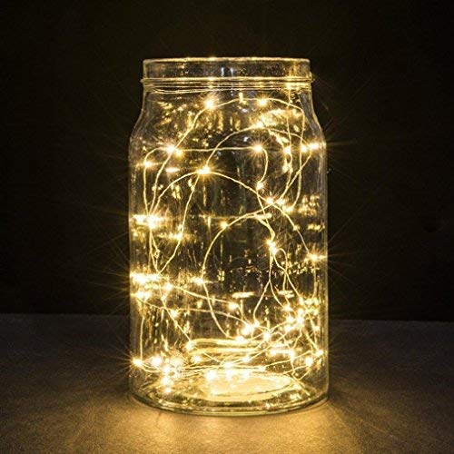 BXROIU 2 x 20 LEDs Fairy String Lights Battery Operated 2 Program,6.5ft Silver Wire String Lights for Bedroom Christmas Parties Wedding Decorations (warm white)