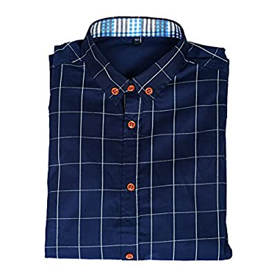 RoseSummer Men's Cotton Long Sleeve Plaid Slim Fit Button Down Dress Shirt