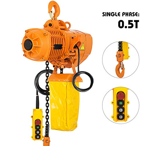 Mophorn 0.5T Electric Chain Hoist Single Phase 1100LBS 10ft Lift Height Electrical Hook Mount G80 Chain Hoist with Pendant Control (0.5T 110V)