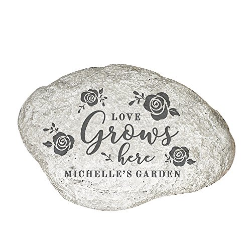 "GiftsForYouNow Love Grows Here Personalized Garden Stone, 11"" W x 8"" H x 1 ½"" D, Resin"