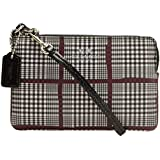 Coach Glen Plaid Corner Zip Wristlet 65066 Black