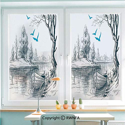 (Window Glass Sticker Door Mural Boat on Calm River Trees Birds Twigs Sketch Drawing Clipart Water Minimalistic Static Cling Privacy No Glue Film Home Decorative 22.8x35.4inch,White Gray Blue)