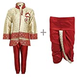 KLAUD ZEE Kids Ethnic Indo-Western Kurta Waistcoat and Dhoti Pant for Boys_RED455-5