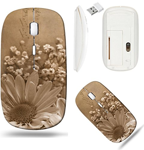 Liili Wireless Mouse White Base Travel 2.4G Wireless Mice with USB Receiver, Click with 1000 DPI for notebook, pc, laptop, computer, mac book Daisy bouquet in sepia and textured layers with music Phot