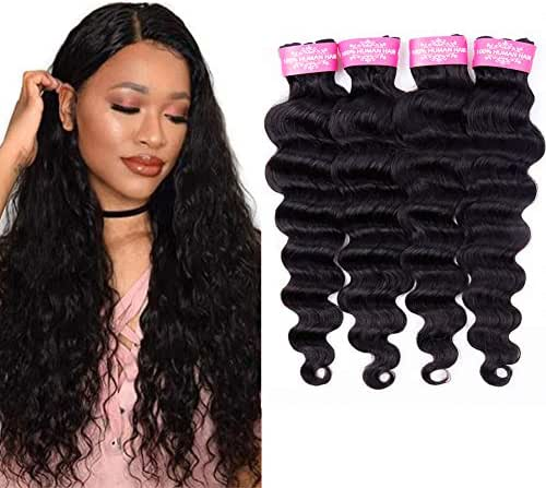 "Brazilian Loose Deep Wave Human Hair 4 Bundles(20"" 22"" 24"" 26"") Unprocessed 10A Virgin Human Hair Bundles Brazilian Loose Deep Curly Weave 4 Bundle Deals"