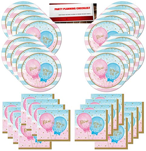 Gender Reveal Boy or Girl Bow or Bow Tie Party Supplies Bundle Pack for 16 Guests (Plus Party Planning Checklist by Mikes Super Store)]()