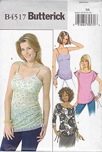 - Butterick Sewing Pattern 4517 Misses Size 8-14 Easy Pullover Empire Waist Ruched Tops