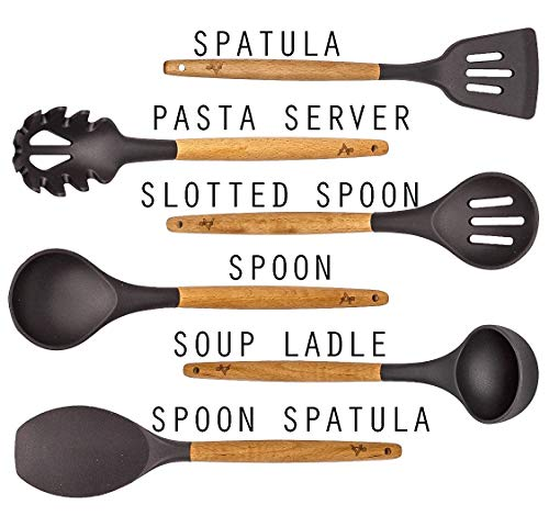 Grey 6 Piece Kitchen Utensil Set - Silicone and Beech Wood ONLY ON Amazon!
